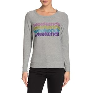 Chaser Weekend Graphic Gray Long Sleeves Sweater